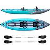 Driftsun Rover 220 Inflatable Tandem Kayak – White Water Kayak with High Pressure Floor, EVA Padded Seats with High Back Support, Aluminum Paddles, Pump and More