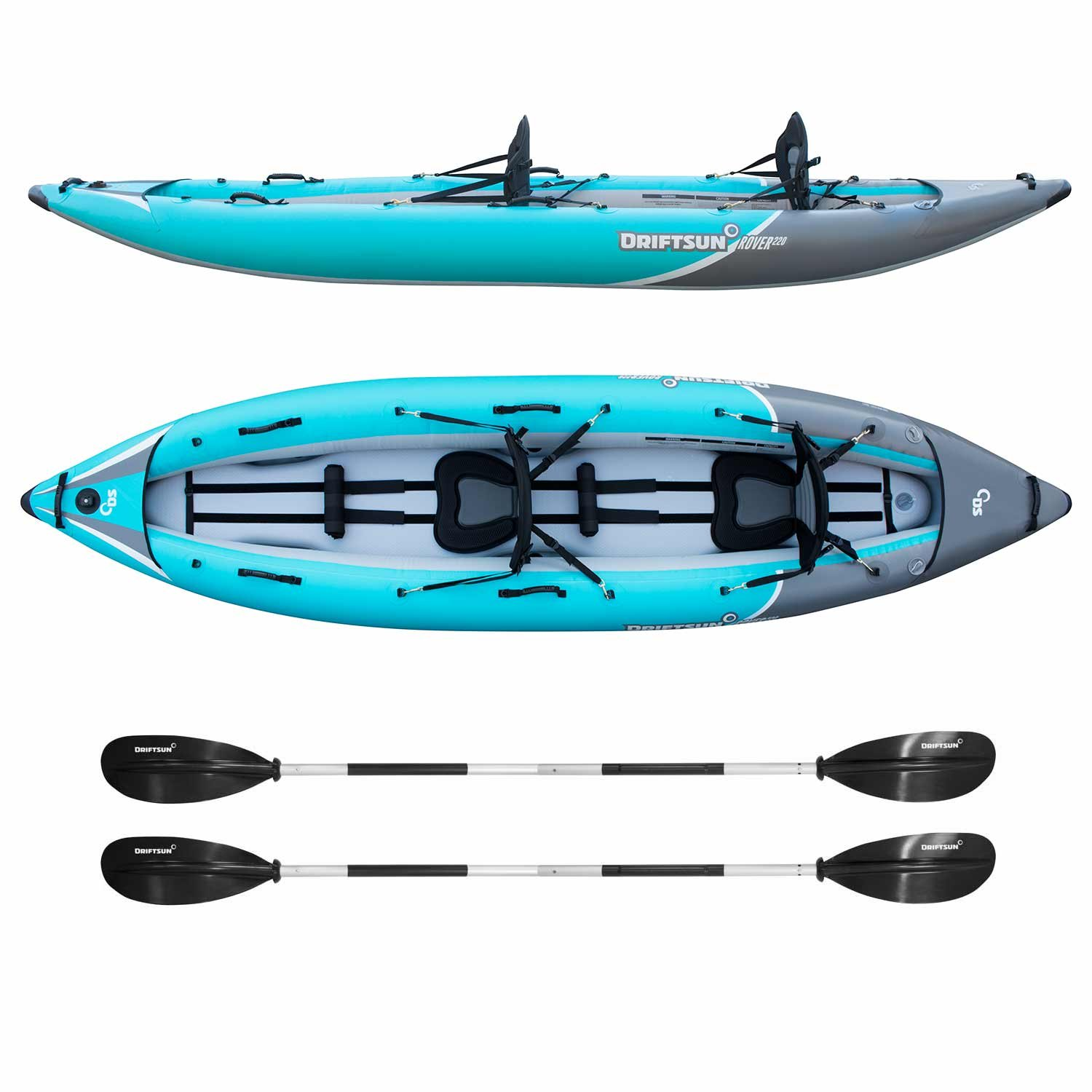 Driftsun Rover 220 Inflatable Tandem White-Water Kayak with High Pressure Floor and EVA Padded Seats with High Back Support, Includes Action Cam Mount, Aluminum Paddles, Pump and More by Driftsun