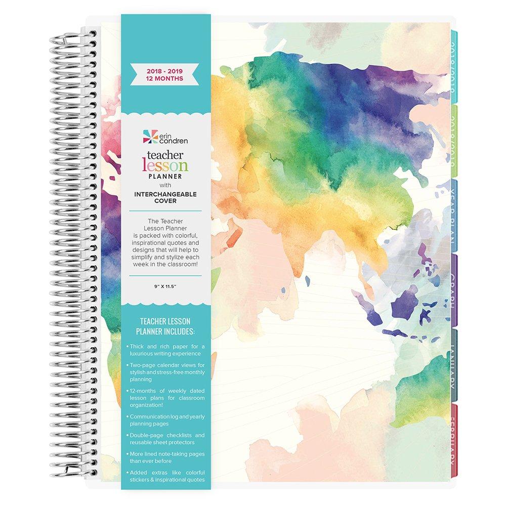 Erin Condren Teacher Lesson Planner Watercolor World- July 2018-June 2019 (12 Month)