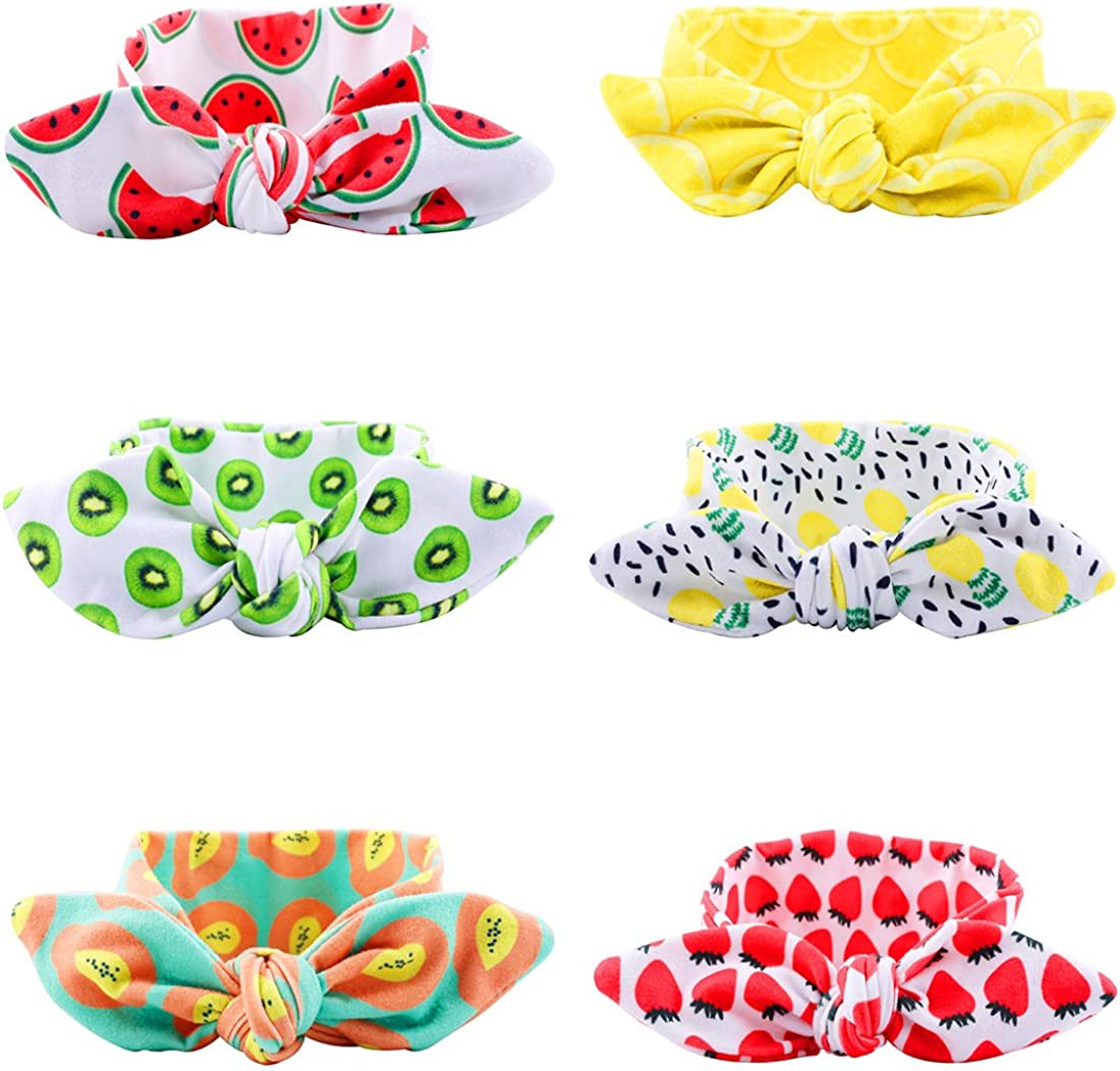 FLYFISH Girls Headbands 6-Pack Assorted-Color Baby Girls Toddler Kids Bunny Rabbit Bow Knot Turban Headband Hairband Headwrap Headwear for Photography Props,Costume,Party