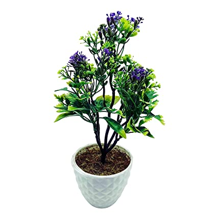 Artificial plant with pot 5 branched bonsai tree with big green artificial plant with pot 5 branched bonsai tree with big green leaves and purple flowers mightylinksfo