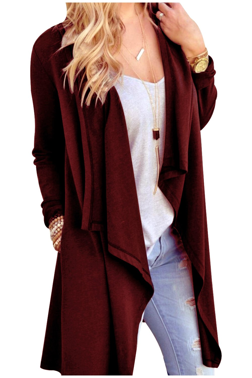 Aifer Women Solid Lightweight Open Front Waterfall Draped Trench Coat Cardigan