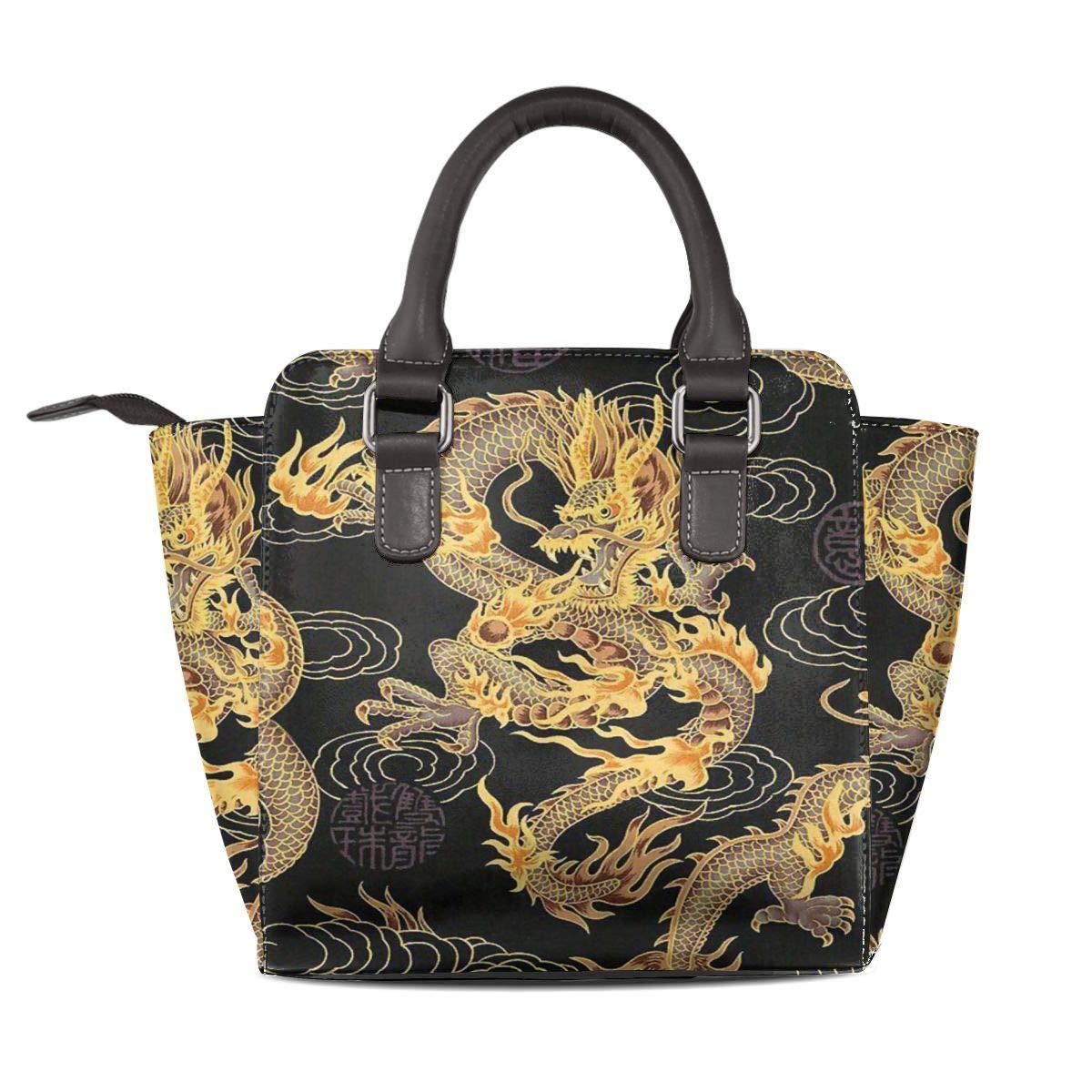 a429832b3302 Amazon.com: Tote Bag Chinese Dragon Golden And Black Handbags Large ...