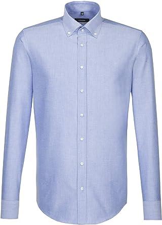 Seidensticker - Camisa de negocios para hombre, X-Slim, manga larga, cuello desplegable, fácil de planchar azul 45: Amazon.es: Ropa y accesorios