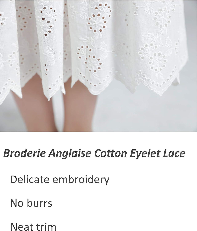 BEAUTELICATE Halber Unterrock Damen 100/% Baumwolle Vintage Lang Halbrock Mit Spitze Stickerei R/öcke Petticoat Elfenbein S M L XL