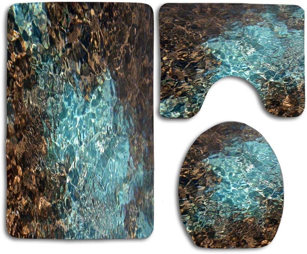 Amazon.com: Teal and Brown Water Color Photo Bath Rug Set 3 Piece
