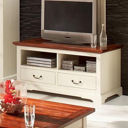 Televisor Riesa en madera de acacia blanco antiguo coñac: Amazon.es: Hogar