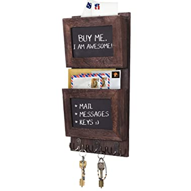 Rustic 2-Slot Mail Sorter Organizer for Wall with Chalkboard Surface & 3 Double Key Hooks - Wooden Wall Mount Mail Holder Organizer – Wall Décor for Entryway made of Paulownia Wood - Torched Brown