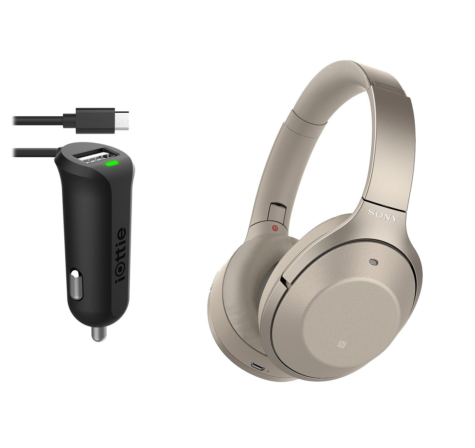 Sony WH1000XM2/N Wireless Bluetooth Noise Cancelling Headphones With Micro USB Car Charger - Gold