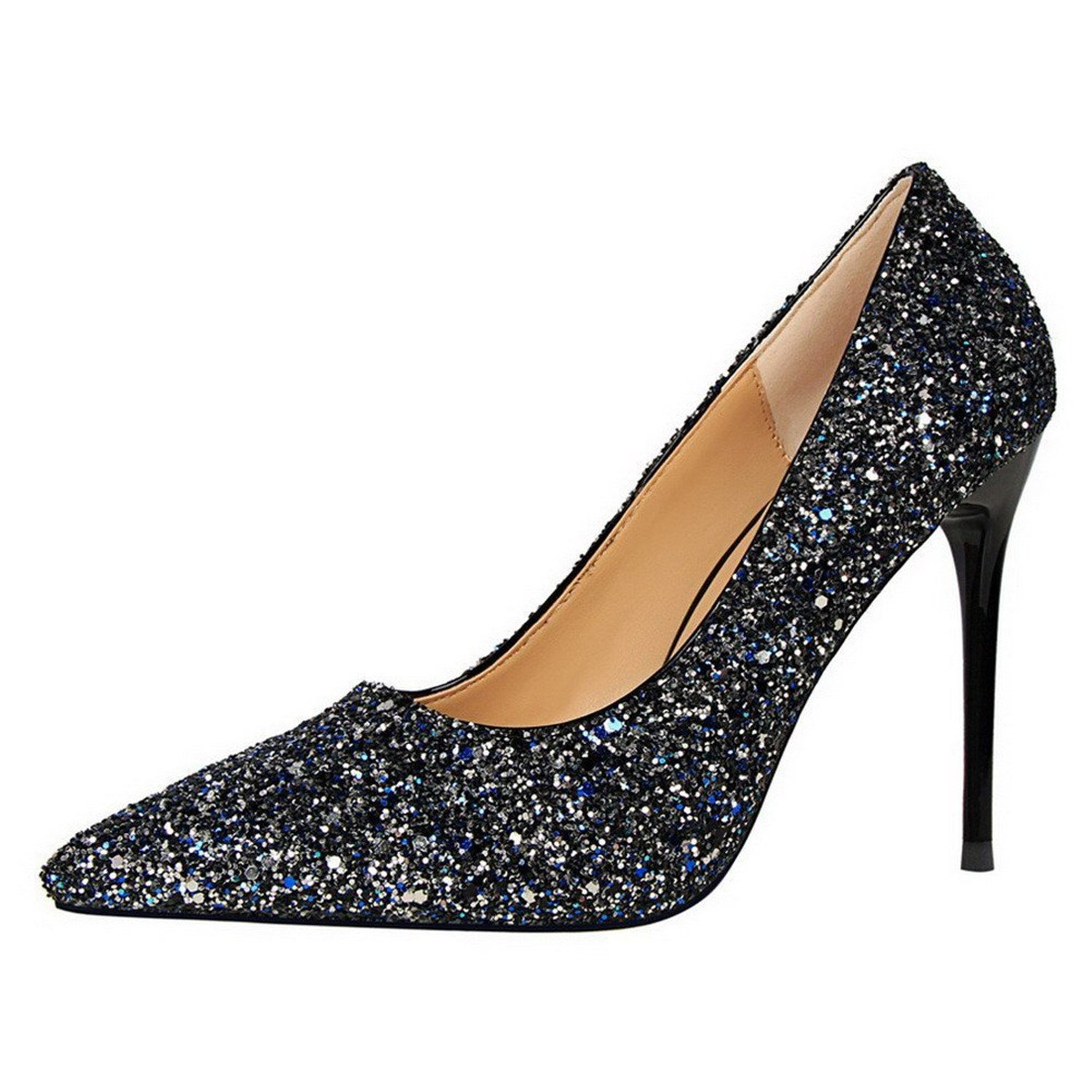 Three Second Fashion Simple Womens Solid Kitten-Heels Pointed-Toe Pull-On Pumps-Shoes with Sequin