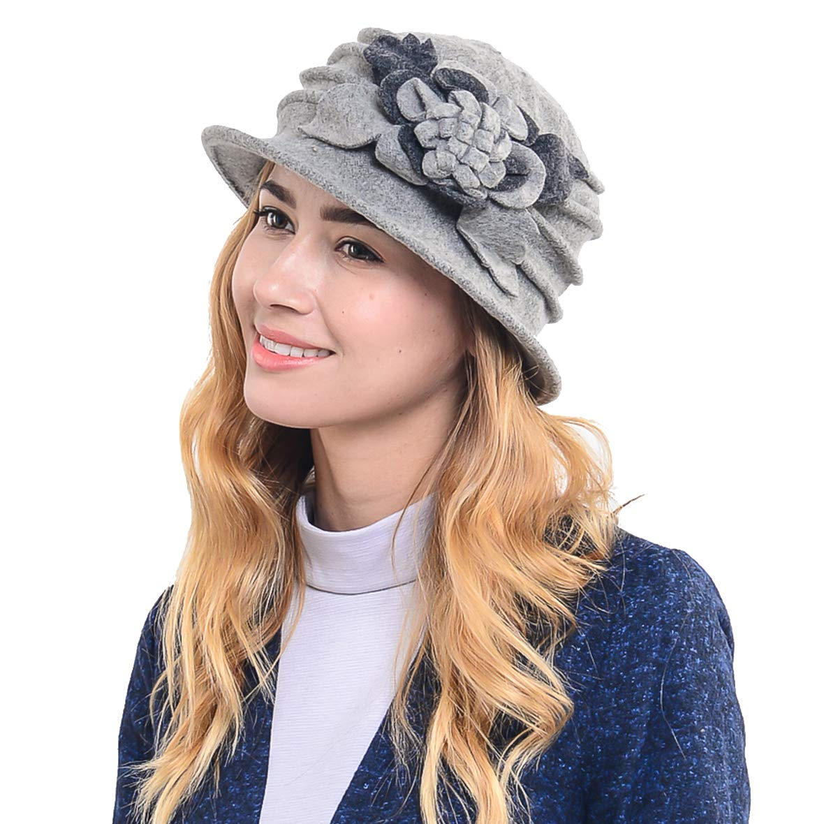 Women's French Beret - 100% Wool Cloche Hat - Beret Beanie for Winter C020 (Grey)