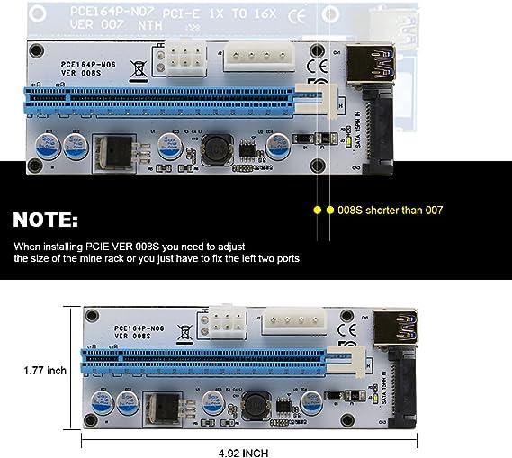 60cm USB 3.0 Extension Cable /& SATA 15PIN Port Leboo 6-Pack PCIE Riser VER 008s PCI Riser 4PIN/&6PIN 1x to x16 Powered Riser Adapter Card GPU Riser Adapter