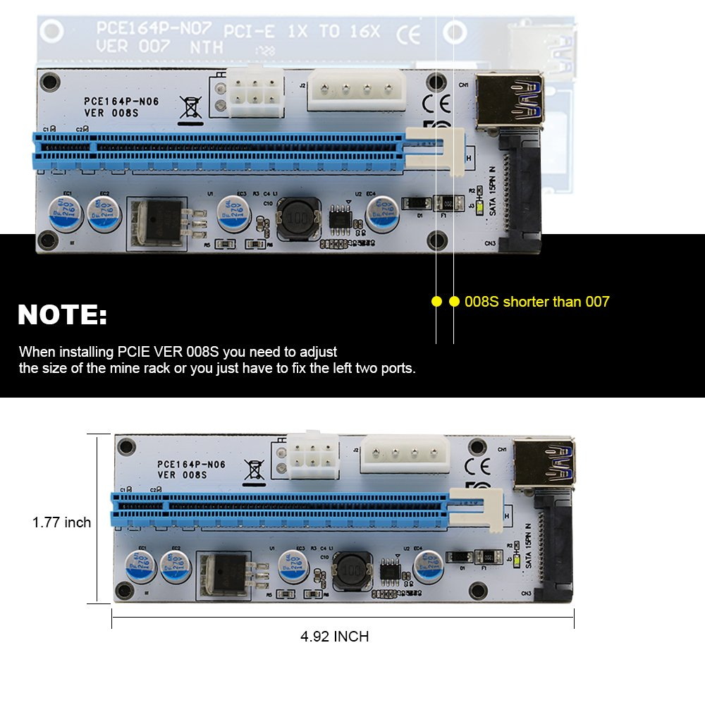 Leboo 6-Pack PCIE Riser VER 008s PCI Riser 4PIN&6PIN 1x to x16 Powered Riser Adapter Card / 60cm USB 3.0 Extension Cable & SATA 15PIN Port - GPU Riser Adapter