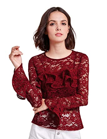 Alisa Pan Womens Sheer Lace Blouse with Flare Sleeves Size 12 Burgundy a31ec9b42e