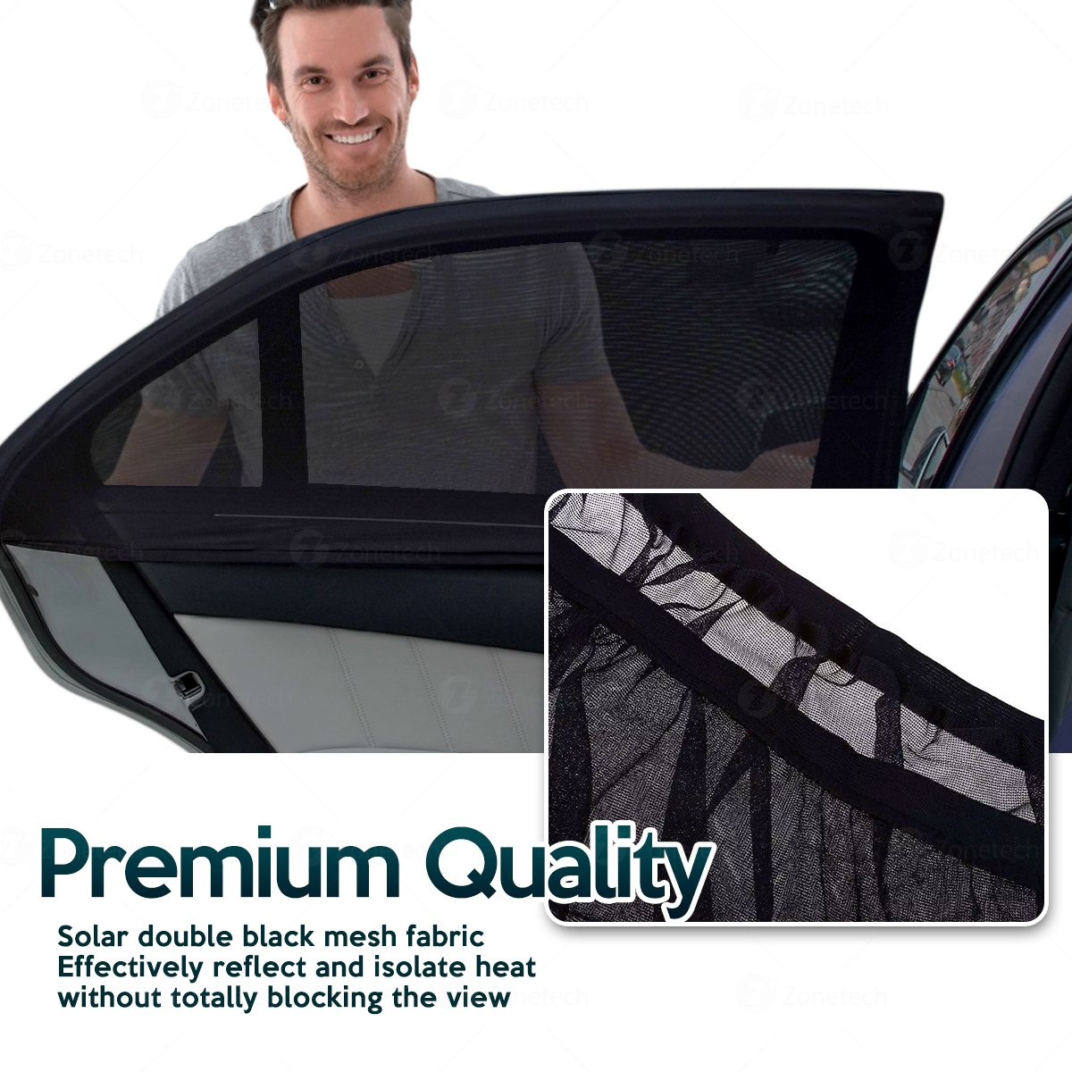 Zone Tech Car Side Window Stretchable Mesh Sunshade 2-Pack Universal Fit Stretchable Protective Mesh Sunshade