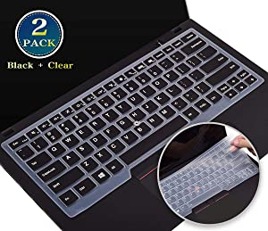 """2 Pack Silicone Keyboard Cover for Lenovo ThinkPad X1 Carbon 7th Gen/6th Gen 2020-2017, Lenovo 14"""" ThinkPad X1 Yoga 3rd Gen 2019, Thinkpad t495 t490 t490s t480 t480s t470 t460 A475 Skin(Black+Clear)"""