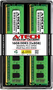 A-Tech 16GB DDR3 1866MHz Desktop Memory Kit (2 x 8GB) PC3-14900 Non-ECC Unbuffered DIMM 240-Pin 2Rx8 1.5V Dual Rank Computer RAM Upgrade Sticks