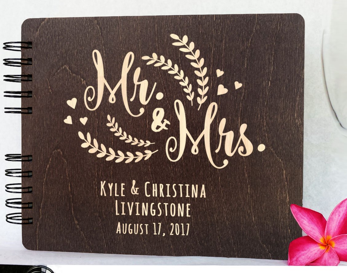 Personalized Wedding Guest Book Mr Mrs Wooden Rustic Vintage Bridal Black Mahogany Oak or Cocoa Unique Wood Hardcover Finish Options by Weddings-by-StockingFactory (Image #2)