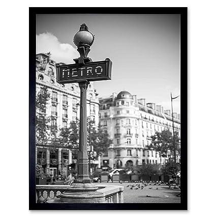 LANDMARK METRO SIGN PARIS FRANCE BLACK WHITE Poster Retro Canvas art Prints