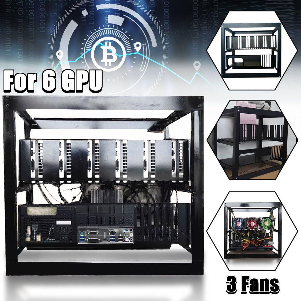 DIY Miner Mining Case Open Air Frame Mining Miner Rig Case W// 3x Fans For 6 GPU ETH BTC Ethereum