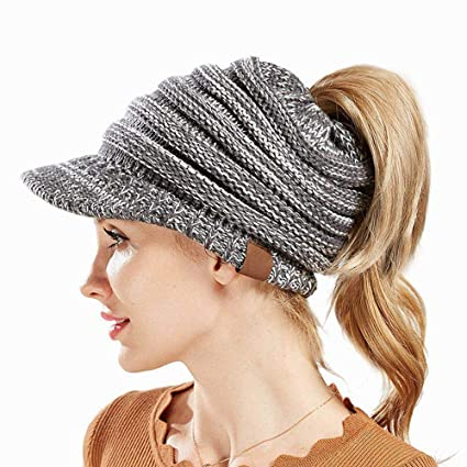 e87ea68b Aolvo Ponytail Beanie with Visor, Cute Messy Bun Beanie Hat Warm Cable Knit  Ponytail Beanie Cap Covers Head and Ears with Ponytail Hole for Long Hair  Women ...