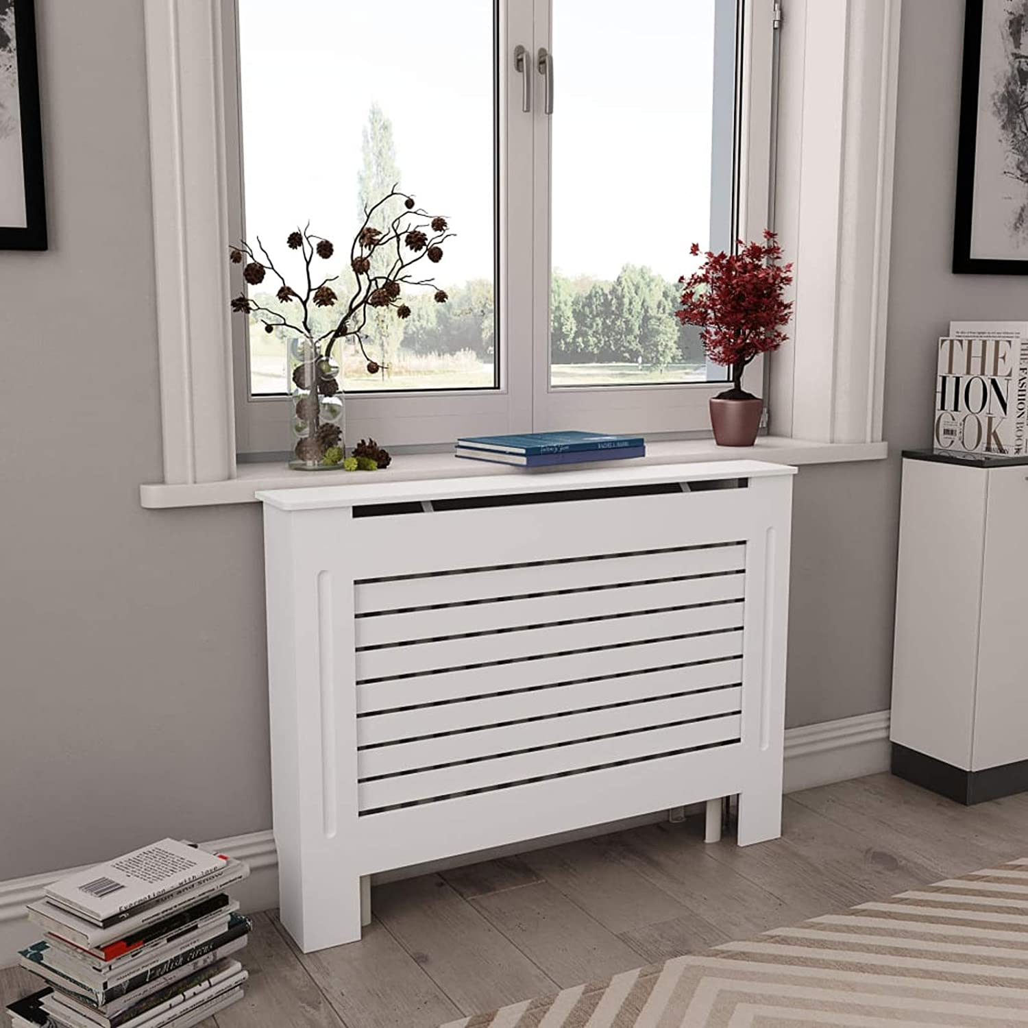 Festnight Radiator Cover MDF with Matt Finished Slatted Design Heating Cabinet Smooth Top for Living Room Bedroom Furniture Decor 44.1 x 7.5 x 32.1 Inches (W x D x H)