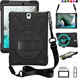 zenrich Galaxy Tab S3 9.7 T820 Case, High Impact Resistant Heavy Duty Armor Cover with Handstrap Strap Shoulder Belt Rubber C