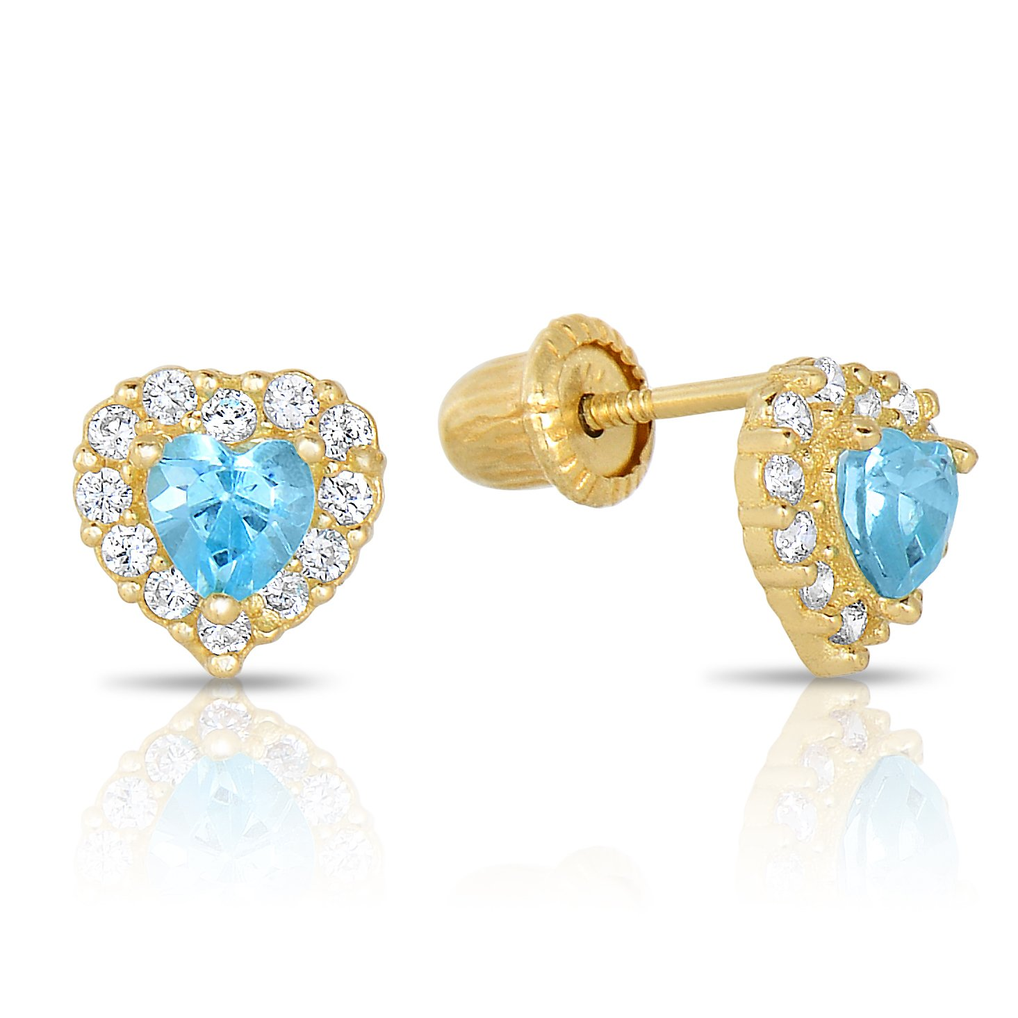 Amazon 14k Yellow Gold SImulated Birthstone and CZ Halo Stud