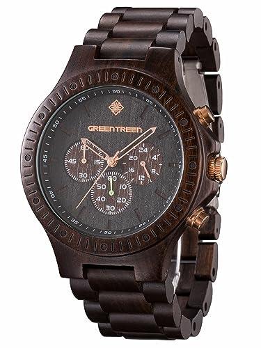 GREENTREEN Reloj ébano resistente al agua multifuncion Cronógrafo madera: Amazon.es: Relojes