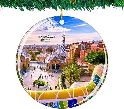 Weekino España Guell Park Barcelona Navidad Ornamento Ciudad Viajar Recuerdo Colección Doble Cara Porcelana 2.85 Pulgadas Decoración de árbol Colgante: Amazon.es: Hogar