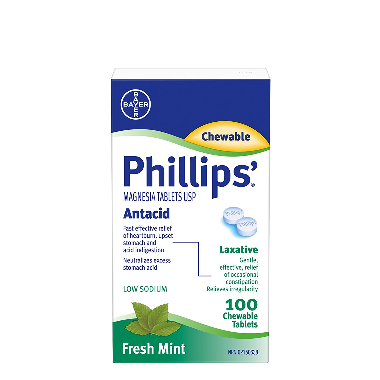 Amazon.com: Phillips Magnesia Tablets Antacid 100 Chewable Tablets Fresh Mint: Health & Personal Care