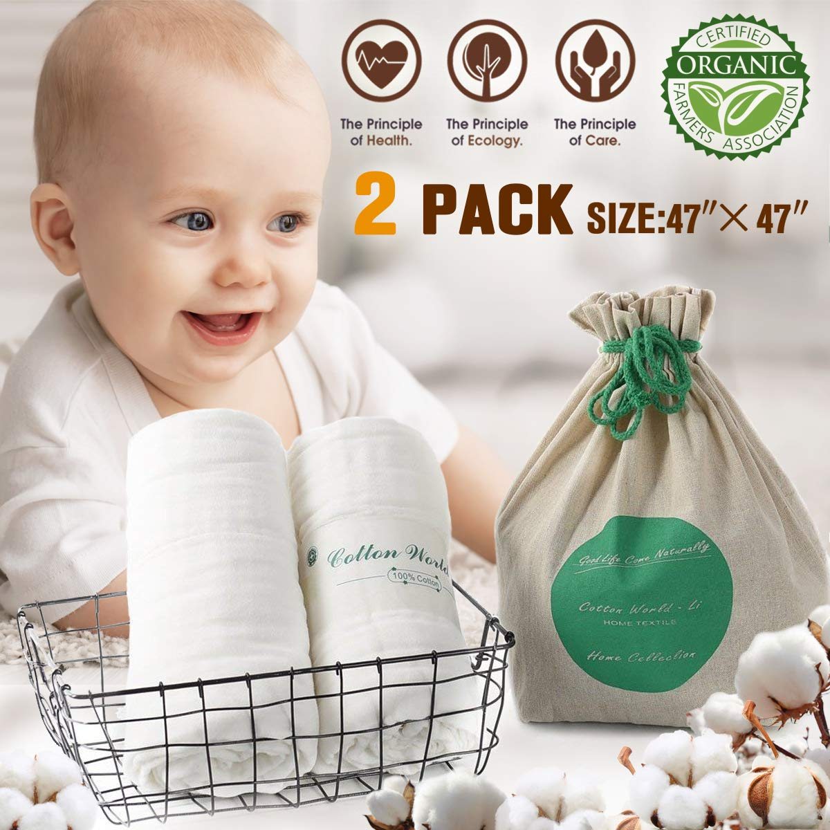 """Baby Muslin Bath Towels(2 Pack) 47""""x47"""", Cotton World Li 100% Natural Organic Cotton 6 Layered Soft Toddler Infant Bath Towels for Sensitive Skin, Premium Extra Soft & Super Water Absorbent (2)"""