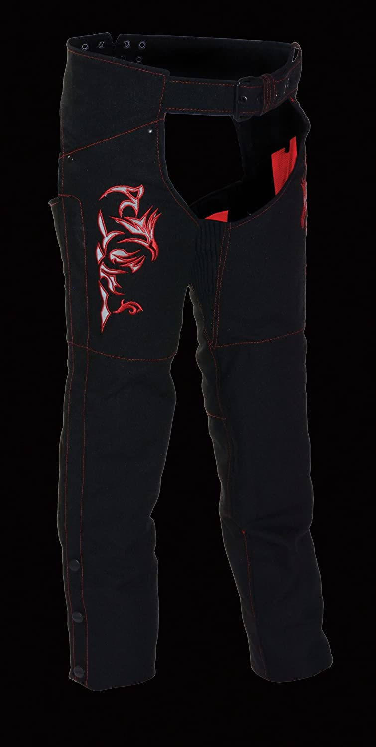 Milwaukee Performance Womens Doulon P1300 Nylon Twill Chaps Black//Red,Small