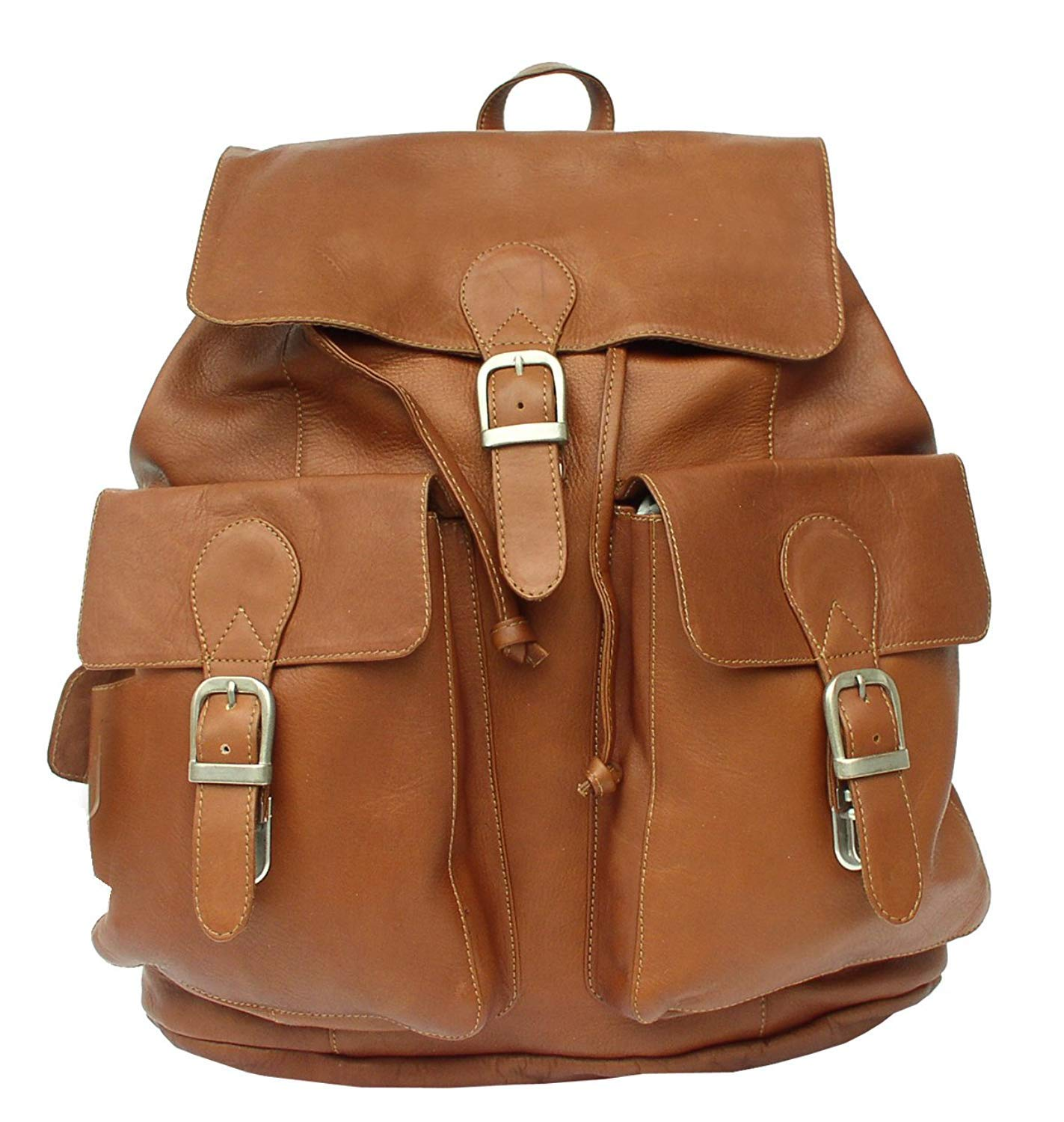 Saddle Piel Leather Large Buckle-Flap Backpack One Size