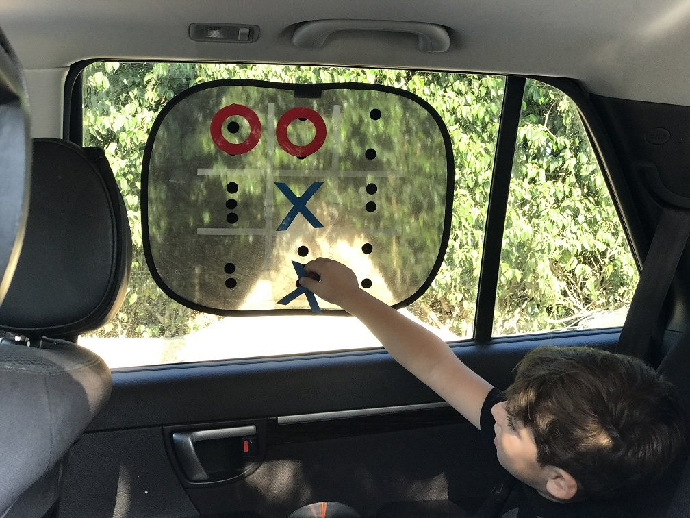 Car Window Shades - Travel Game 17 +14.To Protect Kids from Harmful UV Rays 2 Pack Maximum Shade The windscreen w // built in Tic Tac Toe to Keep Kids Happy on Long Rides