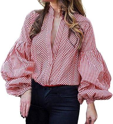 Mujer Blusas Primavera Otoño A Cuadros Tops Elegante Casual ...