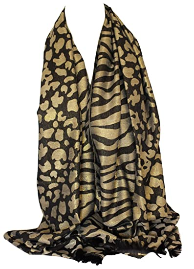 Two Sided Reversible Shimmer Tiger   Leopard Animal Print Wrap Scarf Stole  Shawl (Black) c86a5d245
