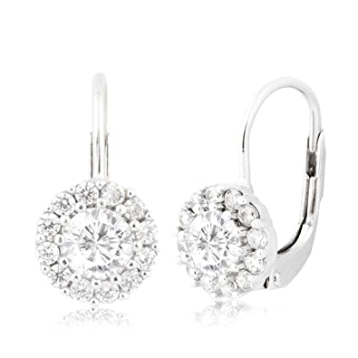 9e4f78371 UNICORNJ Children's Tweens Sterling Silver 925 Clear CZ Round Halo April  Birth Month Leverback Earrings 4mm