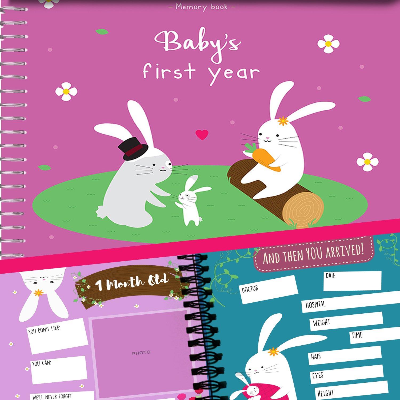 Album de Recuerdos del Primer Año del Bebé - Agenda del 1er Año por Unconditional Rosie. Libro + 12 Pegatinas Incluidas (Libro Escrito en Idioma Inglés) BUNNIESFRANCE