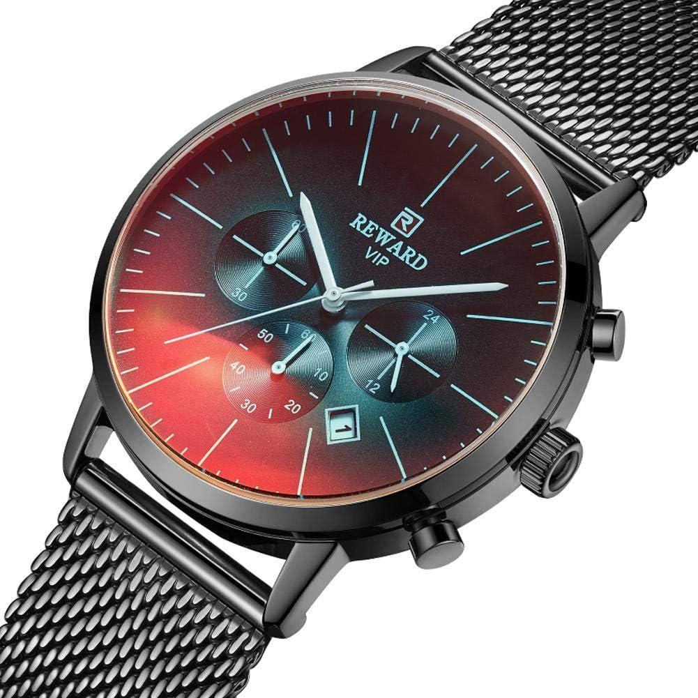 Godya Reloj de Malla de Acero Inoxidable para Reloj de recompensa para Hombres Reloj de Calendario de Correa de Malla Impermeable Reloj de Seis Piezas Reloj de Negocios