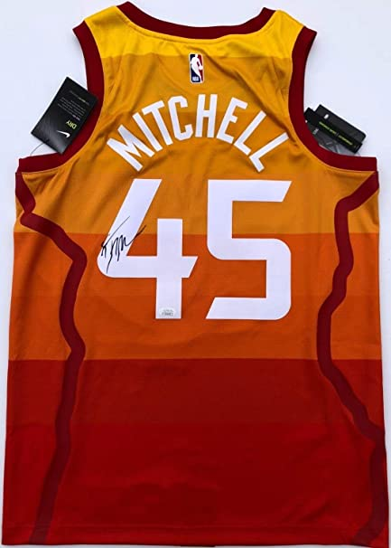 best loved 87187 91a41 Donovan Mitchell #45 Autographed Signed Nike Utah Jazz City ...