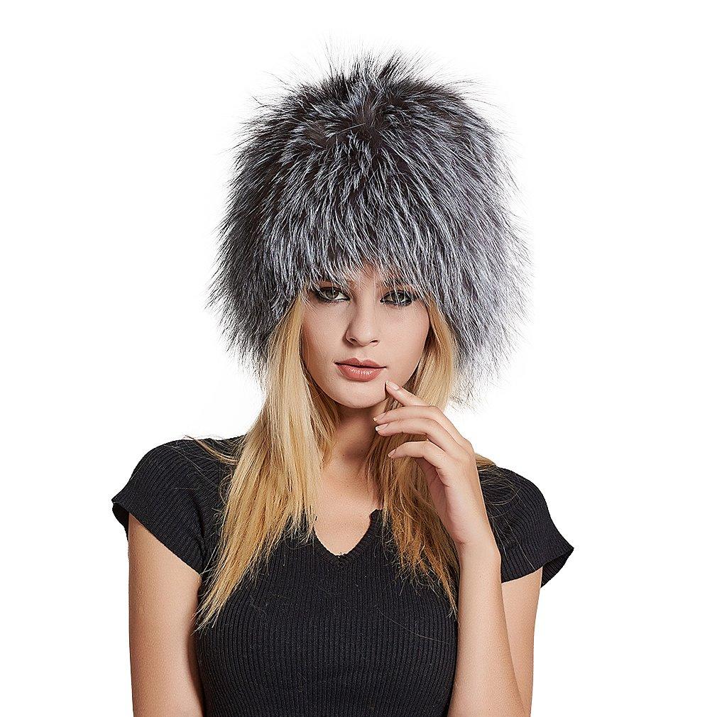Fur Story Women's Real Fox Fur Skullies Beanie Hat Elastic Warm Winter Hats Silver Fox