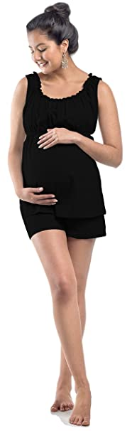 6774195b79c My Bella Mama Maternity Nursing Pajama Shorts PJ Set Pregnancy Nightwear  (Small, Black Elastic