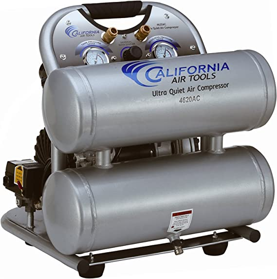 California Air Tools CAT-4620AC Ultra Quiet & Oil-Free 2.0 hp 4.0 gallon Aluminum Twin Tank Electric Portable Air Compressor