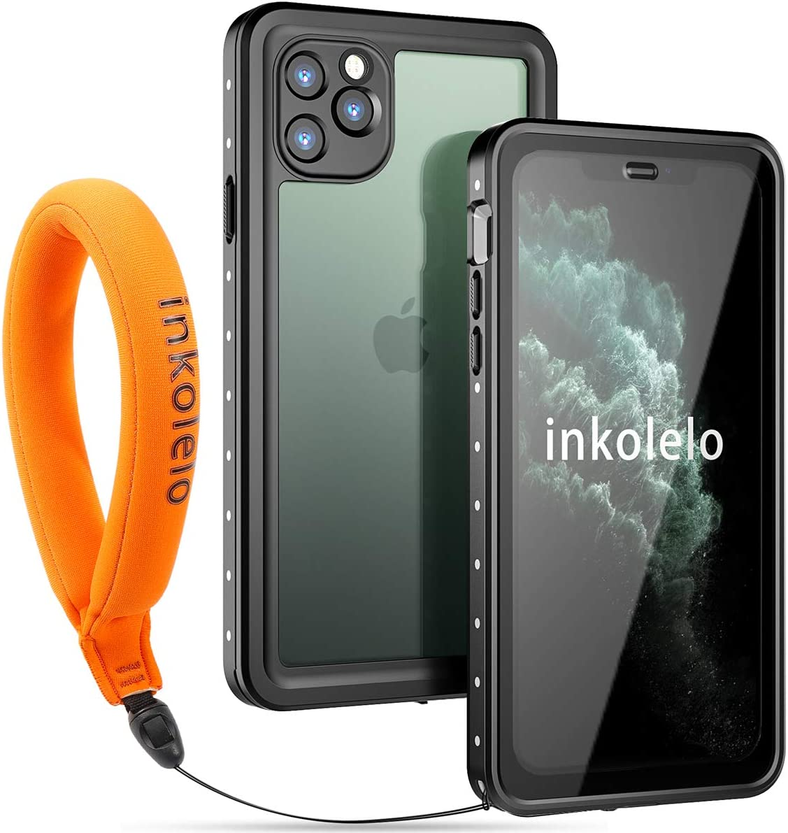 Inkolelo iPhone 11 Pro Max Waterproof Case, Built-in Screen Full-Body Protector with Floating Strap IP68 Waterproof Case for iPhone 11 Pro Max 6.5 inch Case (2019) - Matte Black/Orange