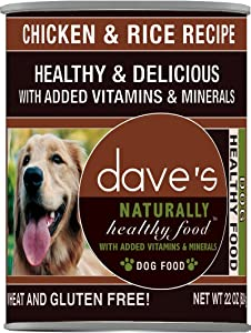 Dave'S Naturally Healthy, Chicken & Rice For Dogs, 22 Oz Can (Case Of 12 )