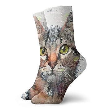 Hateone Calcetines Casuales para Pintar con Gatos, Unisex, Calcetines de Tobillo, Calcetines atléticos