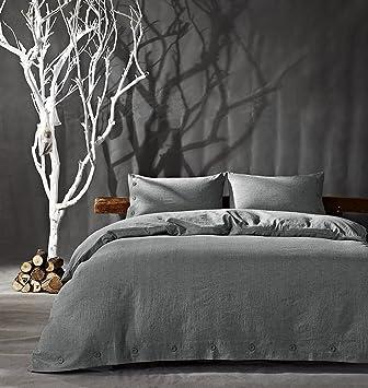 Baumwolle Leinen Bettwäsche Set 3 Teilig Hotel Bettware Mit 2 Kissenbezügen  80x80 Und Bettbezug Bettwäsche