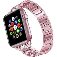 TOWOND Apple Watch seria 6 pasek 44 mm dla kobiet metalowe paski ze stali nierdzewnej, kryształ górski zapięcie na…