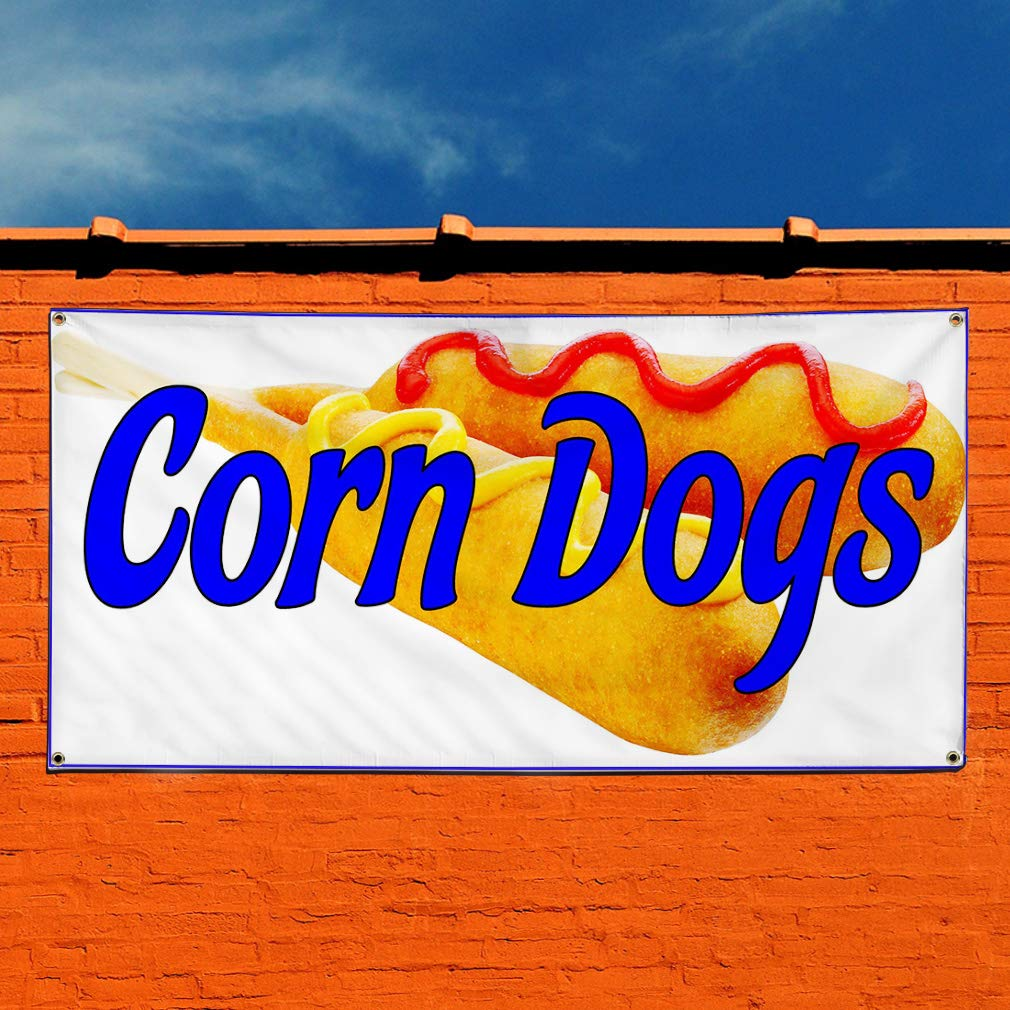 4 Grommets Vinyl Banner Sign Corn Dogs White Blue Yellow Corn Dogs Marketing Advertising White Set of 2 Multiple Sizes Available 28inx70in